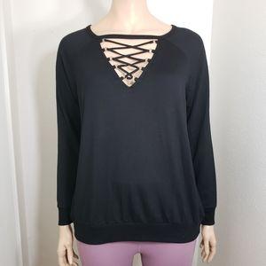 TORRID Black Lace Up Sweatshirt Plus Size 2 2X